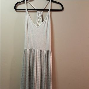 Finn & Clover Gray Stripped Lace back Maxi Dress